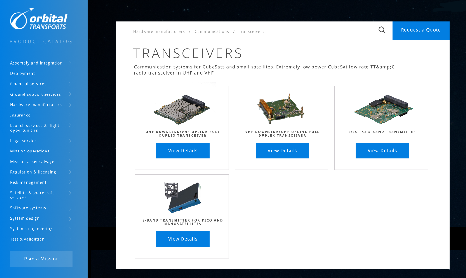 Orbital Transports new catalog product page layout